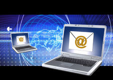 Email sending. Email icon send through internet Royalty Free Stock Images