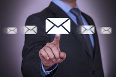 Email Sending Conceptual Work on Visual Screen Stock Photos