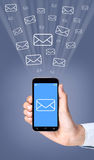 Email Sending With Smartphone Royalty Free Stock Photography