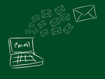 Email sent. Illustration of email deliveries with a laptop and a letter sent emails indicating flying Royalty Free Stock Image
