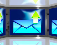 Email Sent On Screen Shows Sent Messages. And Email Outbox Royalty Free Stock Image