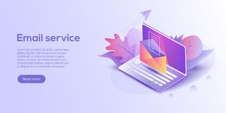 Email service isometric vector illustration. Electronic mail mes. Sage concept as part of business marketing. Webmail or mobile service layout for website stock illustration