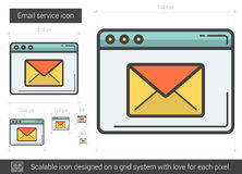 Email service line icon. Email service vector line icon on white background. Email service line icon for infographic, website or app. Scalable icon designed on stock illustration