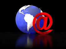 Email sign. Abstract 3d illustration of email sign and earth globe, over black background Stock Photo