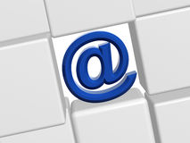 Email sign. 3d blue email sign with white boxes Royalty Free Stock Image