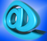 Email sign. Email at sign or @ in 3d. symbol for email address in blue on blue. fat and slightly balloon like illustration Stock Photos