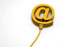 Email sign. Yellow email sign with wire Royalty Free Stock Photo