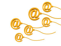 Email sign. S with wires showing motion Royalty Free Stock Photo