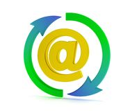 Email sign. 3D email sign with arrows Royalty Free Stock Photo