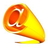 Email sign. Golden 3d email sign on white Stock Illustration