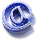 Email sign. Blue glass. Symbol e-mail, built in three-dimensional program and lying on a white background stock illustration