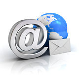 Email sign, blue globe map and envelope Stock Photography