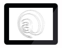 Email at sign blueprint in tablet computer Stock Image