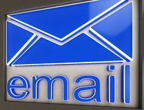 Email Sign Button Shows Online Correspondence Stock Photography
