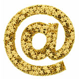 At or email sign composed of golden Stock Photos