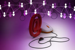 Email sign connected with computer mouse Royalty Free Stock Photos