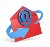 Email sign and envelope. Blue email sign and envelope. 3d image. White background Royalty Free Stock Photos