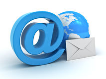 Email sign, globe and envelope Royalty Free Stock Image