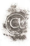 Email sign icon drawing in ash as old technology Stock Photography