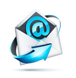 Email at sign icon in letter Royalty Free Stock Images