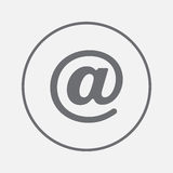 Email sign icon vector, solid illustration, pictogram isolated on gray. Royalty Free Stock Photo