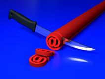 Email sign and knife Royalty Free Stock Photo