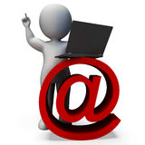 Email Sign And Laptop Shows Correspondence Royalty Free Stock Photography