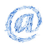 Email sign made of water splshes Stock Photography