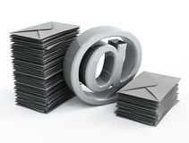 Email sign and mails. 3d image on white background Royalty Free Stock Photography