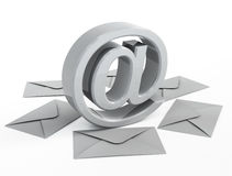 Email sign and mails. 3d image on white background Royalty Free Stock Photo