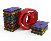 Email sign and mails. 3d image on white background Stock Photo