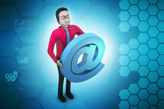 Email sign with man Stock Image