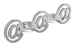 Email sign metal chain 3D. Connection concept vector illustration