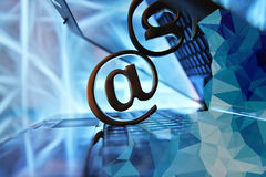 Email sign with notebook Royalty Free Stock Images