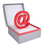 Email sign in open gift box Stock Photography