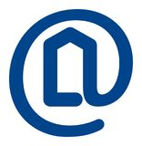 Real estate logo. Email sign in shape of real estate logo Royalty Free Stock Image