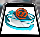 Email Sign On Smartphone Showing Receiving Messages Stock Photos