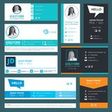 Email signature. Emailers author visit cards user interface design template vector. Illustration of business address, telephone, profile person ui stock illustration