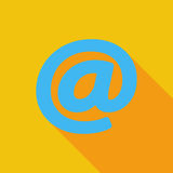 Email single icon. Email icon. Flat vector related icon with long shadow for web and mobile applications. It can be used as - logo, pictogram, icon, infographic Stock Photo