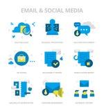 Email & Social Media Flat Icons stock illustration