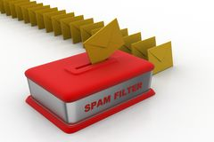 Email through spam filter Royalty Free Stock Photos