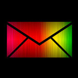Email spectrum glowing isolated on black Stock Photography