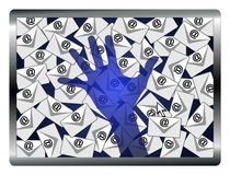 Email Spy. Concept sign of a security system monitoring computers and emails Royalty Free Stock Image