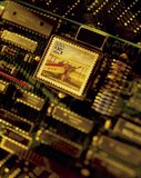 Email, Stamp on Circuit Board. Stamp on circuit board representing email communication Stock Photo
