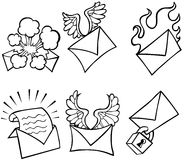Email Sticker Button Set - black and white Royalty Free Stock Photos