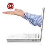 Email su una palma Fotografia Stock Libera da Diritti