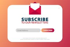 Email subscribe, online newsletter, submit button. Envelope and subscribe button. UI UX design. Vector illustration. Email subscribe, online newsletter, submit royalty free illustration