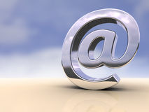 Email symbol. Metallic email symbol on a flat surface. Digital illustration Royalty Free Stock Images