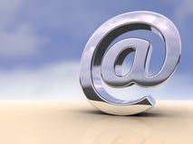 Email symbol. Metallic email symbol on a flat surface. Digital illustration royalty free illustration