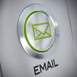 Email Symbol. On a metal button, green color and light, e-mail concept Stock Photography